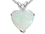 Tommaso Design™ 8mm Heart Shape Genuine Opal and Diamond Pendant