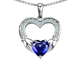 Celtic Love by Kelly Hands Holding 8mm Heart Claddagh Pendant With Created Sapphire