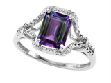 Tommaso Design 8x6mm Emerald Cut Simulated Alexandrite and Diamond Ring