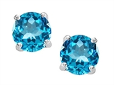 Original Star K Round 7mm Genuine Blue Topaz Earring Studs