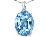 Tommaso Design Simulated Oval Aquamarine and Diamond Pendant
