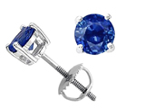 Tommaso Design™ 5mm Round Genuine Sapphire Screw Back Earring Studs