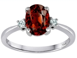 Tommaso Design 8x6mm Oval Genuine Garnet and Diamond Engagement Ring