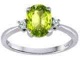 Tommaso Design™ 8x6mm Oval Genuine Peridot Diamond Engagement Ring