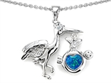 Original Star K New Baby Stork Pendant with Heart Shape 8mm Created Blue Opal
