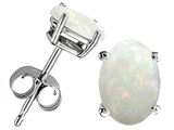 Original Star K Oval 8x6mm Genuine Opal Earring Studs