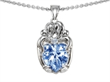 Original Star K™ Loving Mother And Twins Family Pendant With Heart Shape Simulated Aquamarine