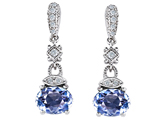 Original Star K™ Simulated Oval Aquamarine 1.50 Inch Hanging Drop Earrings style: 305275