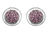 Star K™ Round Puffed Earrings with Created Pink Sapphire style: 305276