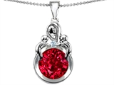 Original Star K™ Large Loving Mother With Children Pendant With Created Round Ruby