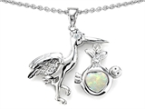 Star K™ Baby Stork Pendant Necklace with 8mm Heart Shape Created Opal style: 305278