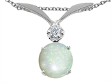 Tommaso Design Round 7mm Genuine Opal And Genuine Diamond Pendant