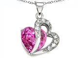 Original Star K Heart Shape 12mm Created Pink Sapphire Pendant