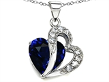 Original Star K Heart Shape Created Deep Blue Sapphire Pendant