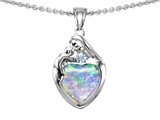 Original Star K™ Loving Mother With Child Family Pendant With 8mm Heart Shape Created Opal