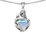 Original Star K™ Loving Mother With Child Hugging Pendant With Created Heart Shape 8mm Opal