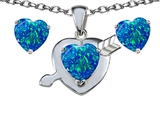 Star K™ Blue Created Opal 8mm Heart with Arrow Pendant Necklace with matching earrings style: 305304