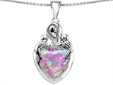 Original Star K™ Large Loving Mother Twin Children Pendant With Created Heart Shape 12mm Pink Opal