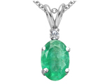 Tommaso Design Genuine Oval 7x5mm Emerald and Diamond Pendant