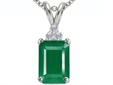 Tommaso Design™ Emerald Cut 7x5mm Genuine Emerald and Diamond Pendant