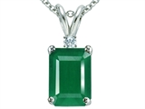 Tommaso Design™ Classic 7x5mm Emerald Cut Genuine Emerald and Diamond Pendant style: 305310