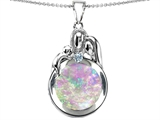 Original Star K™ Loving Mother And Father With Child Family Pendant With Round 10mm Pink Simulated Opal style: 305311