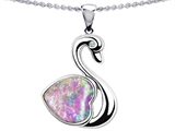 Original Star K™ 1inch Love Swan Pendant With Heart Shape 8mm Created Pink Opal