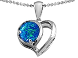 Original Star K™ Heart Shape Pendant With Round 7mm Simulated Blue Opal style: 305330