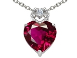 Tommaso Design Heart Rope Pendant with 8mm Created Ruby and Diamond