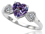 Tommaso Design Simulated Alexandrite and Diamond Heart Shape Engagement Promise Ring