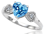 Tommaso Design Genuine Blue Topaz and Diamond Heart Shape Engagement Promise Ring