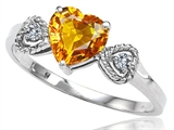 Tommaso Design Genuine Citrine and Diamond Heart Shape Engagement Promise Ring