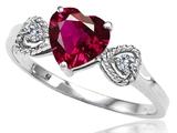 Tommaso Design Created Ruby and Diamond Heart Shape Engagement Promise Ring