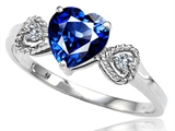 Tommaso Design Created Sapphire and Diamond Heart Shape Engagement Promise Ring