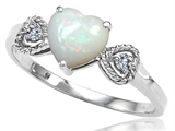 Tommaso Design™ Genuine Opal and Diamond Heart Shape Engagement Promise Ring