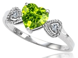 Tommaso Design Genuine Peridot and Diamond Heart Shape Engagement Promise Ring