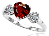 Tommaso Design Genuine Garnet and Diamond Heart Shape Engagement Promise Ring