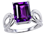 Original Star K Large Emerald Cut 10x8mm Genuine Amethyst Solitaire Ring
