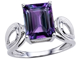 Original Star K Large Emerald Cut 10x8mm Simulated  Alexandrite Solitaire Ring