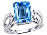 Original Star K Large Emerald Cut 10x8mm Genuine Blue Topaz Solitaire Ring