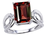 Original Star K Large Emerald Cut 10x8mm Genuine Garnet Solitaire Ring