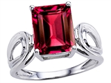 Original Star K Large Emerald Cut 10x8mm Created Ruby Solitaire Ring