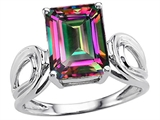 Original Star K Large Emerald Cut 10x8mm Rainbow Mystic Topaz Solitaire Ring