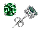 Original Star K™ Round 7mm Simulated Emerald Earrings Studs style: 305378