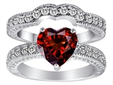 Original Star K 8mm Heart Shape Genuine Garnet Wedding Set