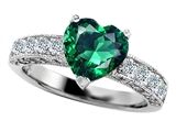 Original Star K 8mm Heart Shape Simulated Emerald Engagement Ring
