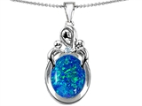 Original Star K™ Loving Mother With Children Pendant With Oval Created Blue Opal