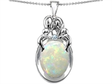 Original Star K™ Loving Mother And Family Pendant With Oval Simulated Opal style: 305398