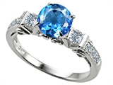 Original Star K Classic 3 Stone Engagement Ring With Round 7mm Genuine Blue Topaz