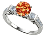 Original Star K Classic 3 Stone Engagement Ring With Round 7mm Simulated Mexican Fire Opal
